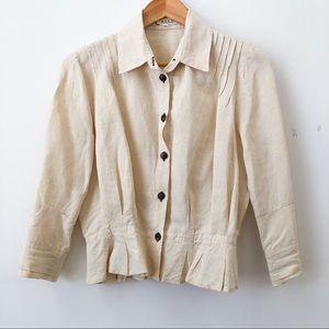 Casch Anthropologie Beige Linen Button Down Jacket